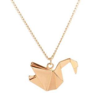 Golden Origami Swan Necklace